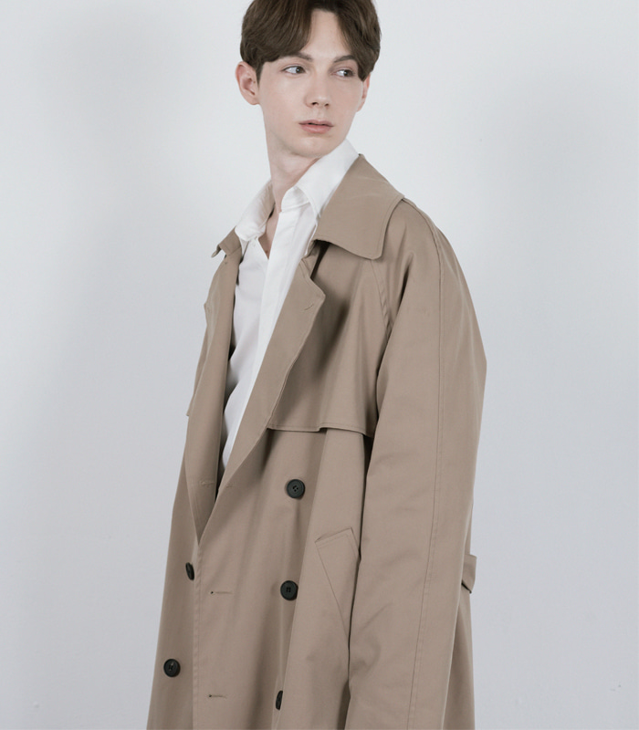 DARK BEIGE Oversized Raglan Trench Coat