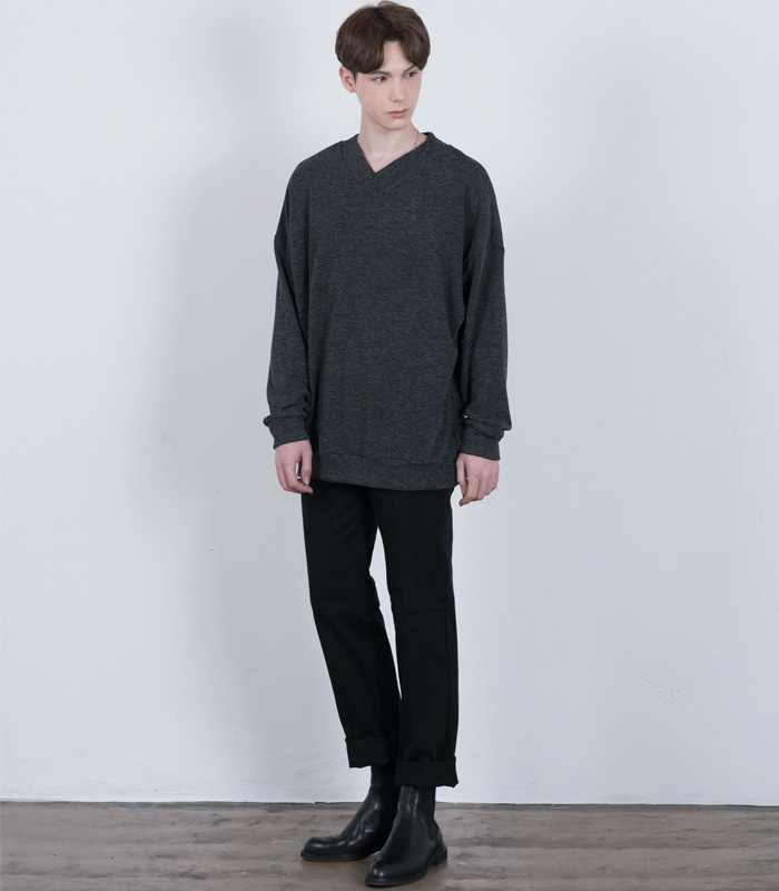 CHARCOAL Oversized V Neck Knit Sweatshirts