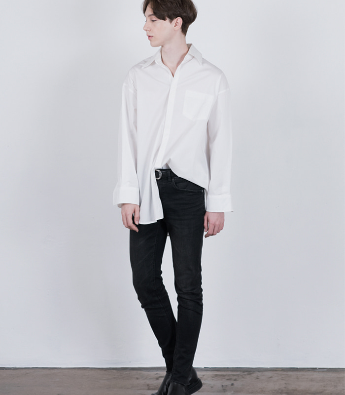 IVORY WHITE Wide Shape Long Shirts [New Arrival SALE 10%]
