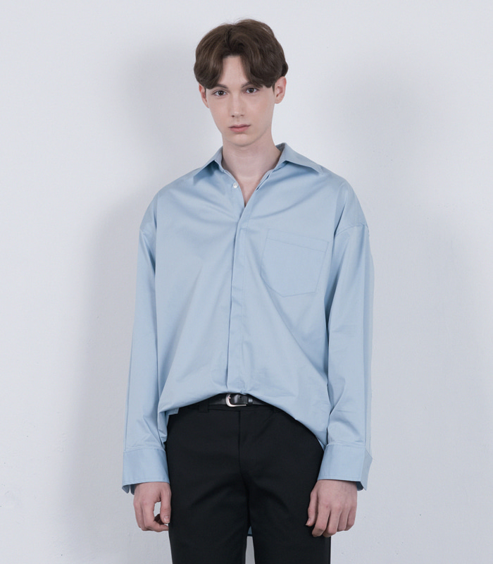 SKY BLUE Wide Shape Long Shirts [New Arrival SALE 10%]