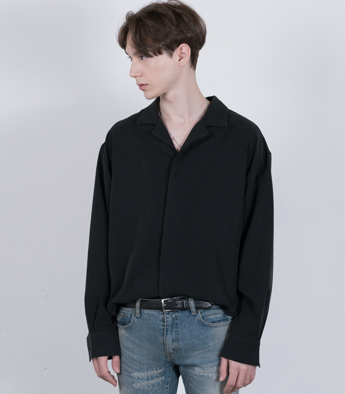 [iKON 송윤형 착용] BLACK Oversized Opencollar Silket Shirts  [New Arrivals 10%] [14차 리오더 재입고 완료]