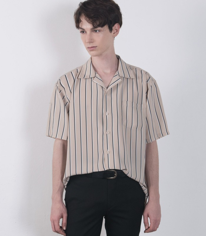 BEIGE Pin Stripe Silket Half Shirts [Official SALE 15%]