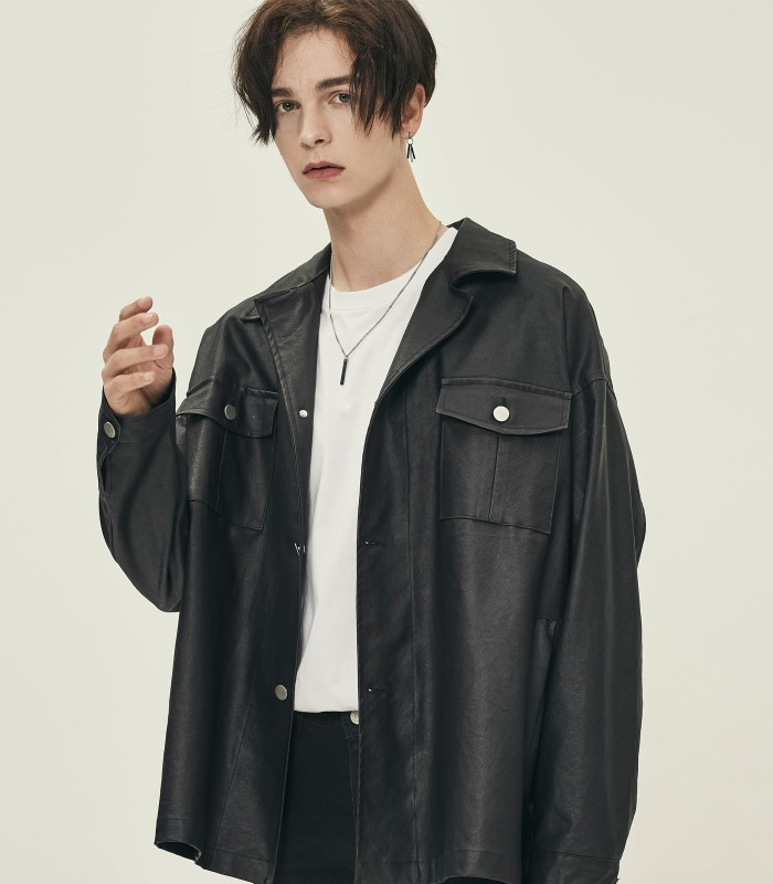 BLACK Oversized Coating Denim Shirts Jacket [Official SALE 15%]