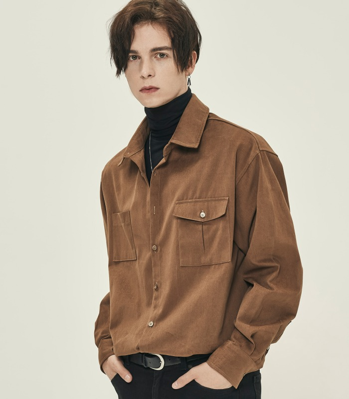 CAMEL Unbalanced Pocket Cotton Suede Shirts