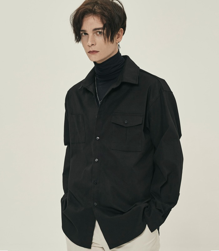BLACK Unbalanced Pocket Cotton Suede Shirts [Season Off 30%]