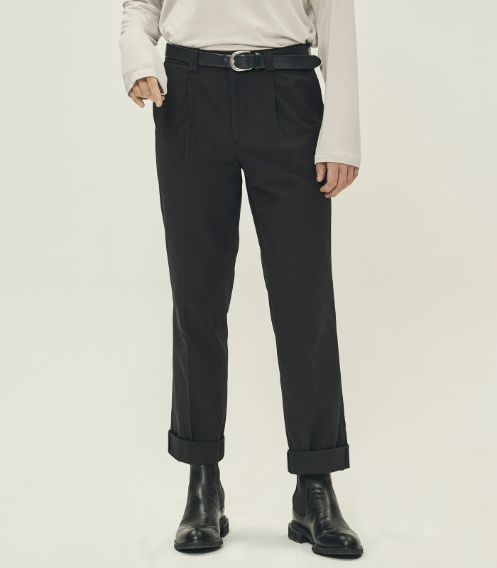 BLACK Semi-Wide Trousers [Official SALE 15%]