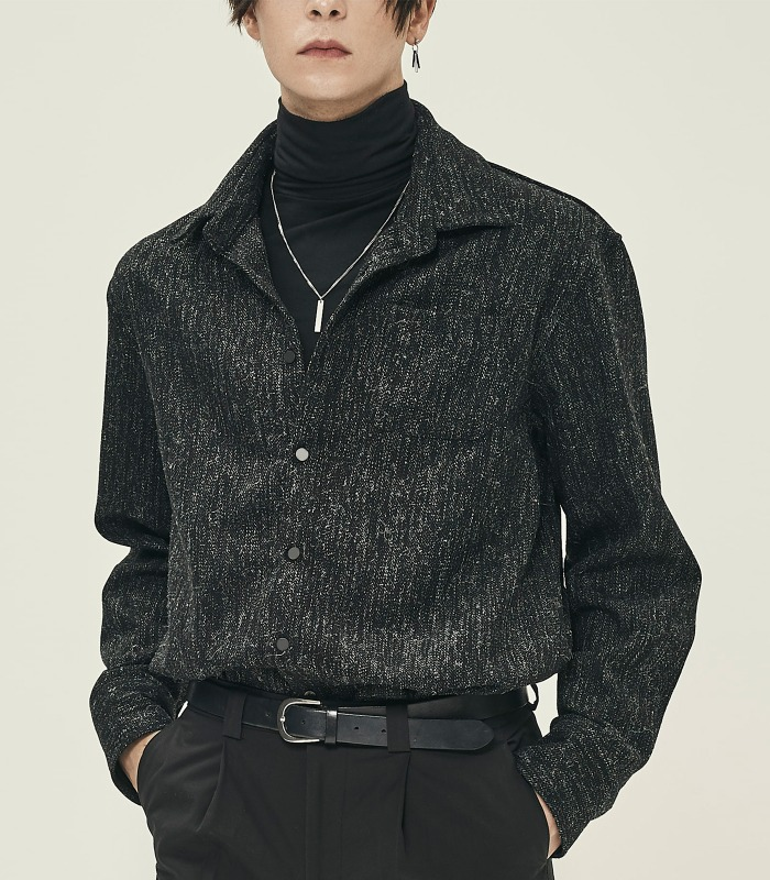 BLACK Wool Blend Tweed Shirts [Official SALE 15%]