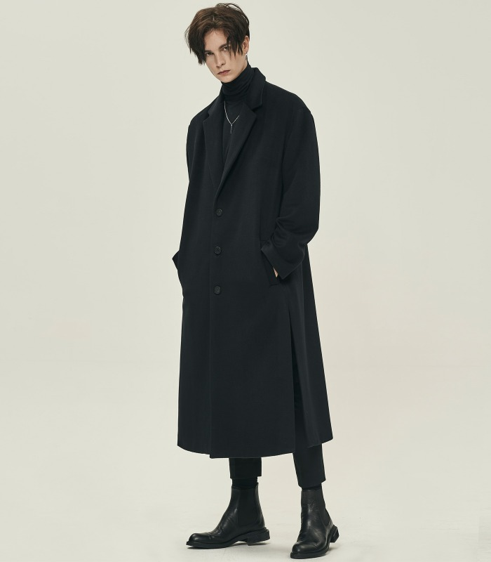 BLACK Oversized Drop Side Cutting Long Single Coat