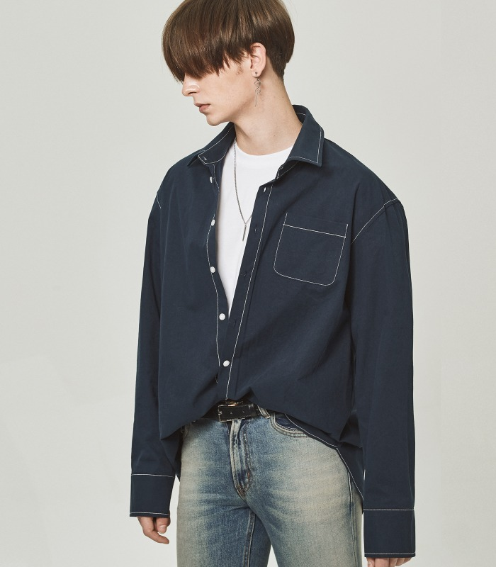 [A.C.E 찬 착용] DARK NAVY Stitch Point Long Shirts [New Arrivals 15%]