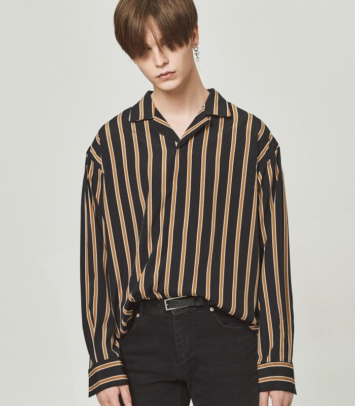 BLACK STRIPE Semi-Over Silket Pajama Shirts [New Arrivals 15%]