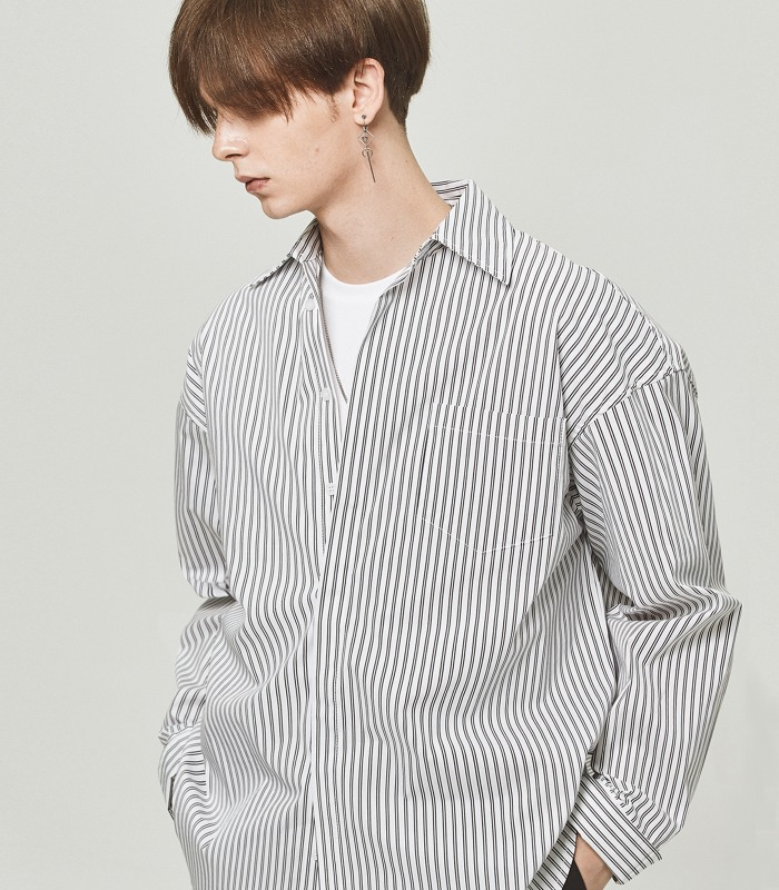 BLACK PIN STRIPE Wide Folding Cuffs Shirts [New Arrivals 15%]