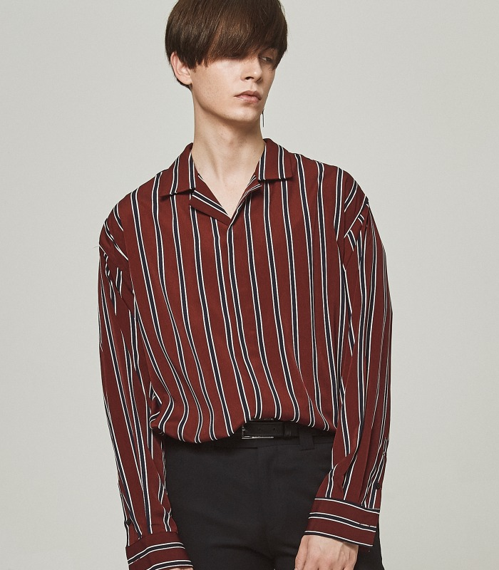 BURGUNDY STRIPE Semi-Over Silket Pajama Shirts [New Arrivals 15%]