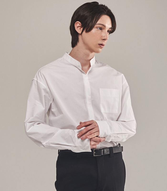 WHITE Semi-Over Hidden Button Stand Collar Shirts [New Arrivals 15%]