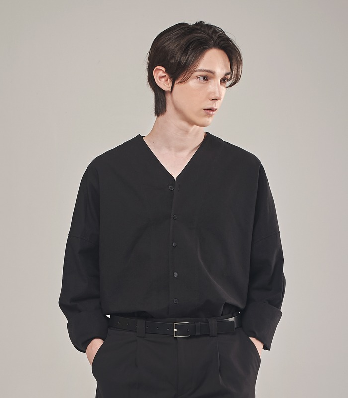 BLACK Oversized Noncollar Shirts [New Arrivals 15%]