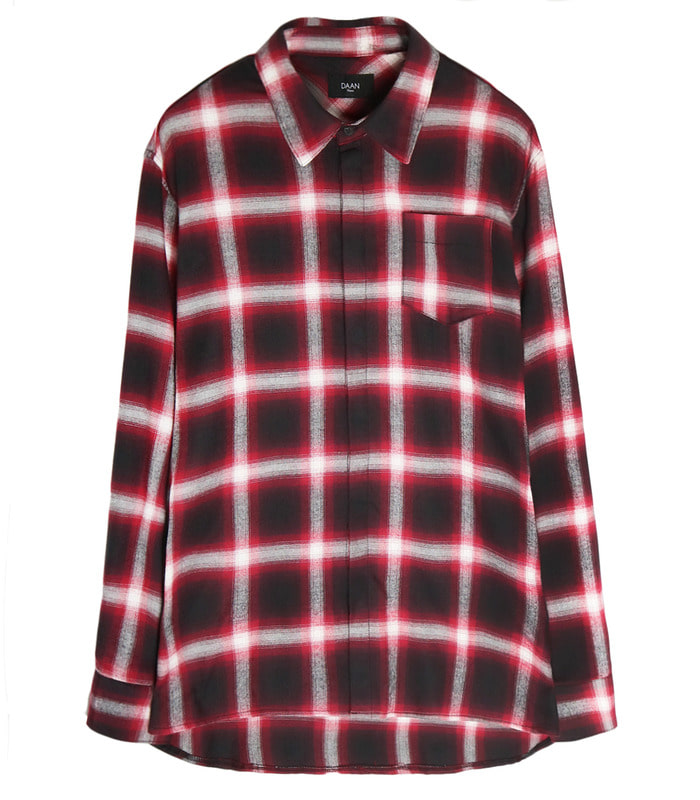 RED Semi-Over Long Check Shirts [더로즈 재형 착용] [SALE 40%]