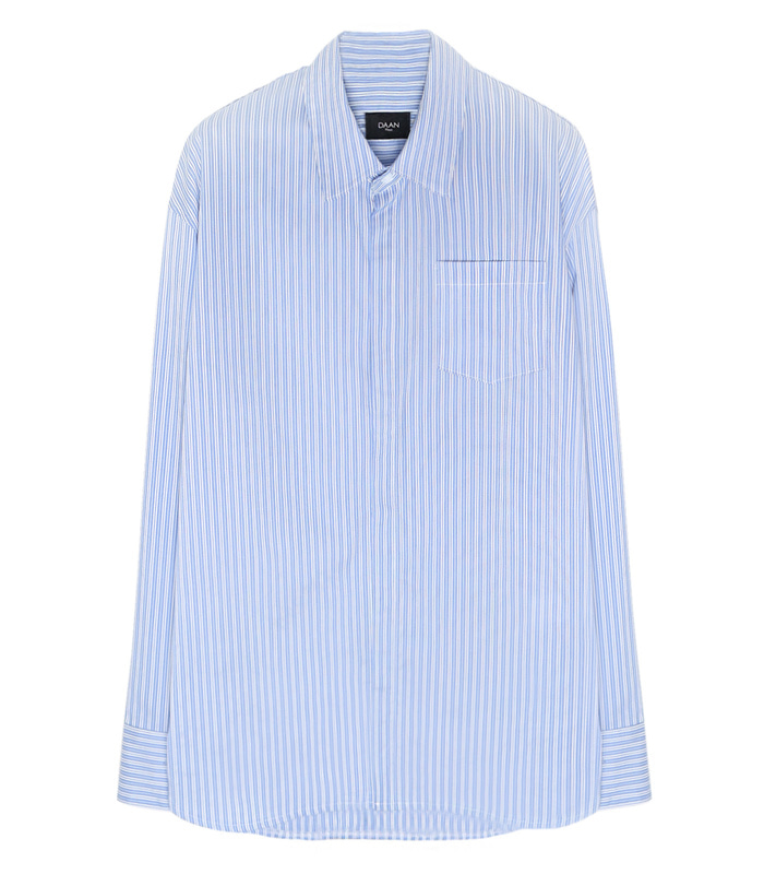 DAAT075 Semi-Over Long Stripe Shirts (SKY BLUE & WHITE) [SEASON OFF 35%]