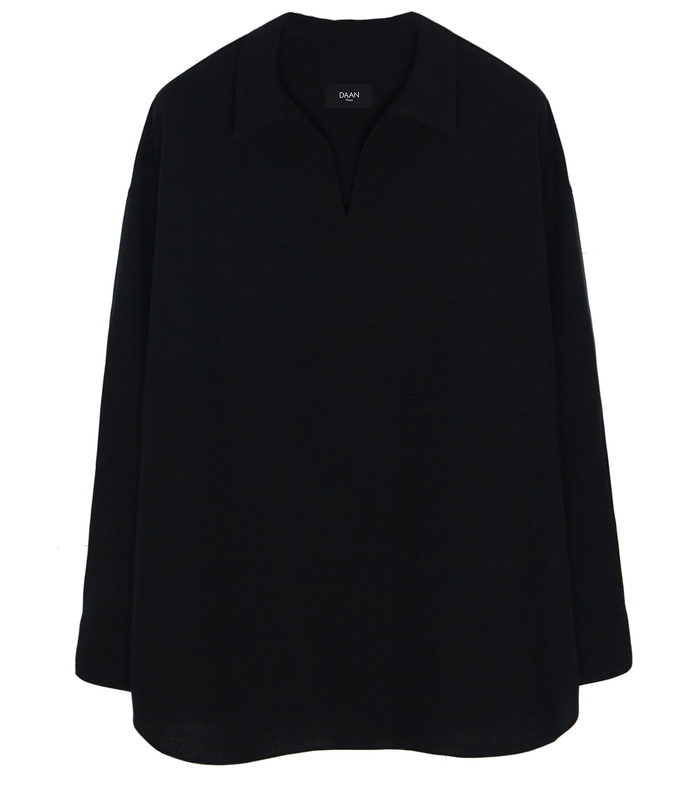 BLACK LINEN Wide Fit Anorak Shirts