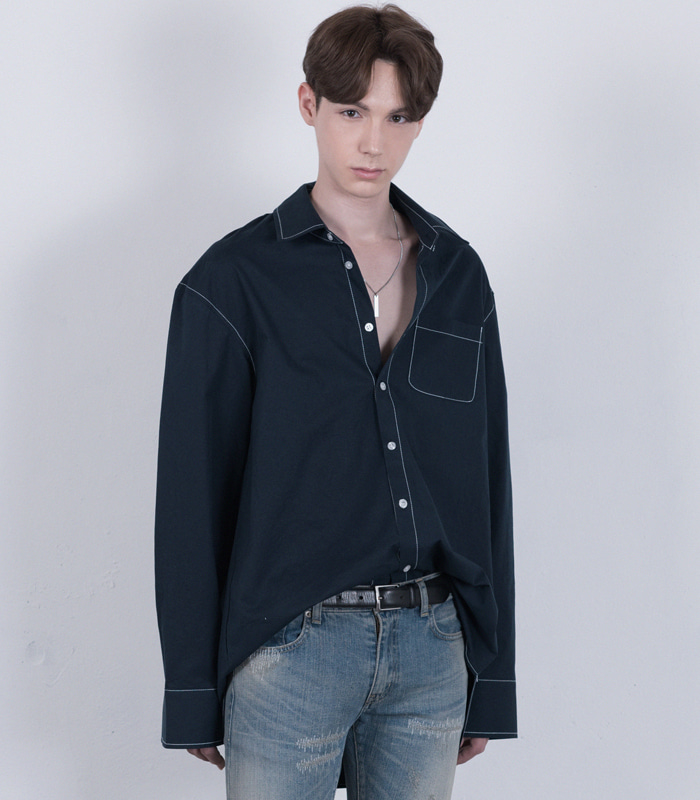 [A.C.E 찬 착용] DARK NAVY Stitch Point Long Shirts [1차 리오더 입고완료] [New Arrival SALE 10%]