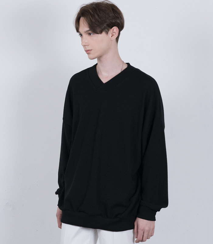 BLACK Oversized V Neck Knit Sweatshirts [New Arrival SALE 10%]