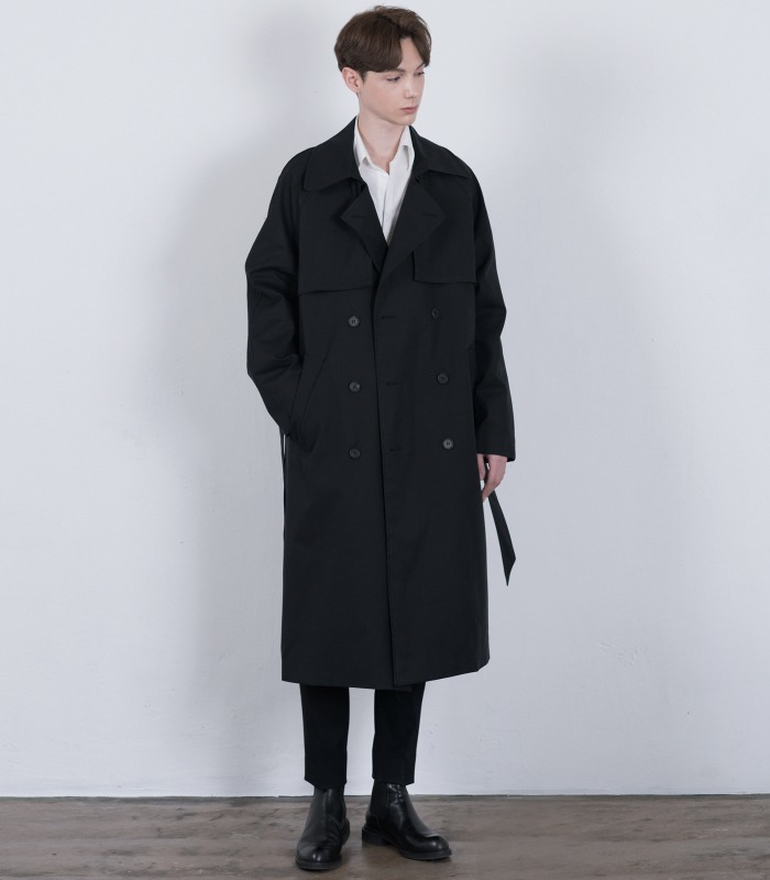 BLACK Oversized Raglan Trench Coat