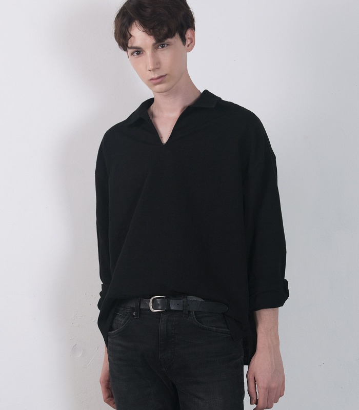 BLACK Linen Wide Anorak Shirts (Collar Ver)