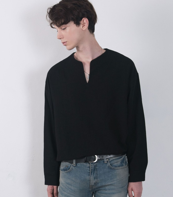 BLACK Linen Wide Anorak Shirts (Non Collar Ver)