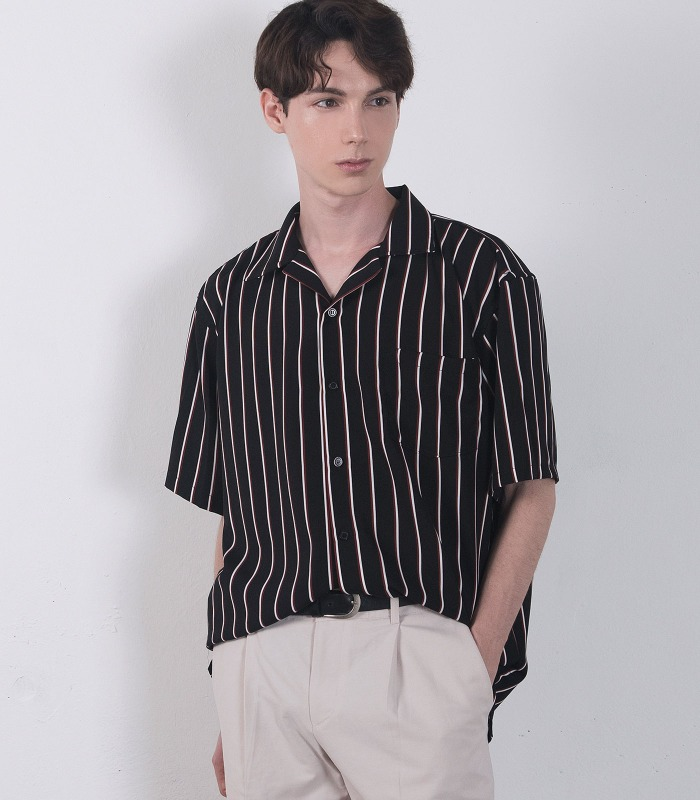 BLACK Pin Stripe Silket Half Shirts [Official SALE 15%]