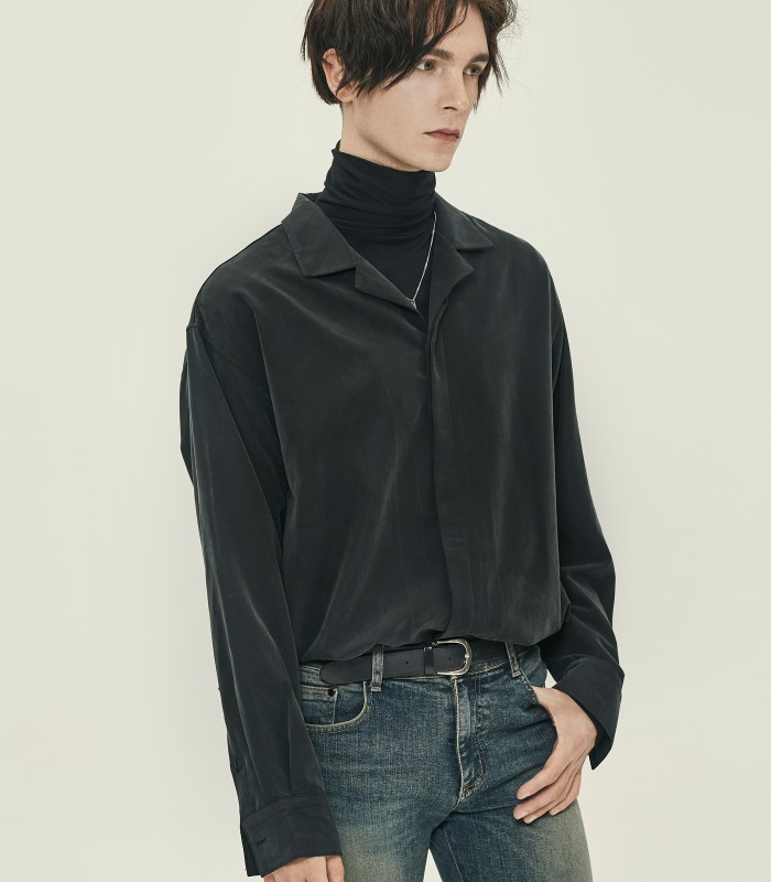 [iKON 송윤형 착용] BLACK Oversized Opencollar Silket Shirts [16차 리오더 완료] [Official SALE 15%]