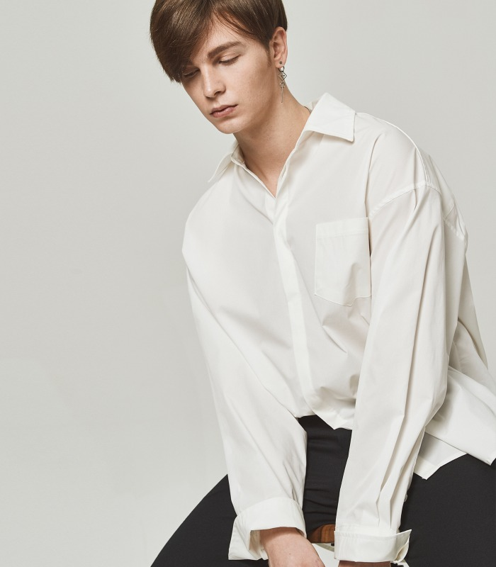 IVORY WHITE Wide Folding Cuffs Shirts [New Arrivals 15%]