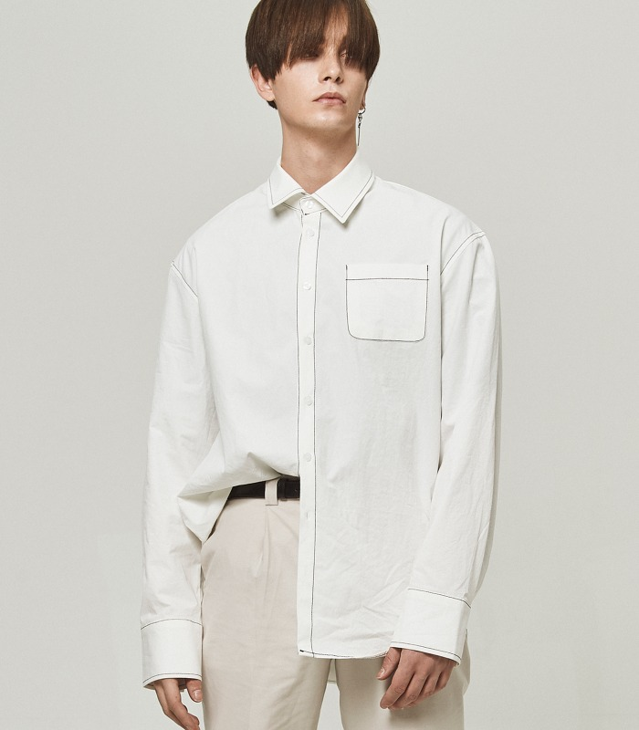 [B1A4 산들 착용] OFF WHITE Stitch Point Long Shirts [New Arrivals 15%]