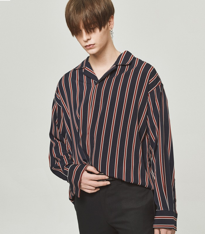 NAVY STRIPE Semi-Over Silket Pajama Shirts [New Arrivals 15%]