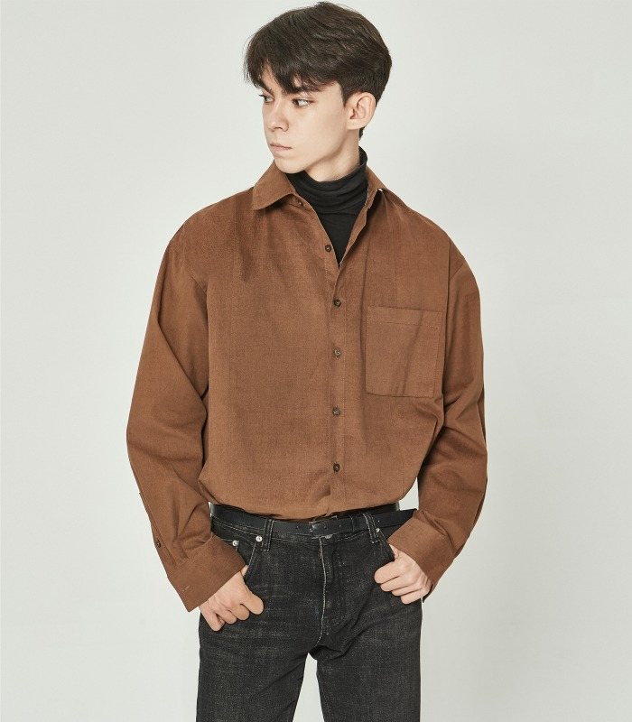 CAMEL Cotton Suede Unbalance Shirts [Season Off 50%]