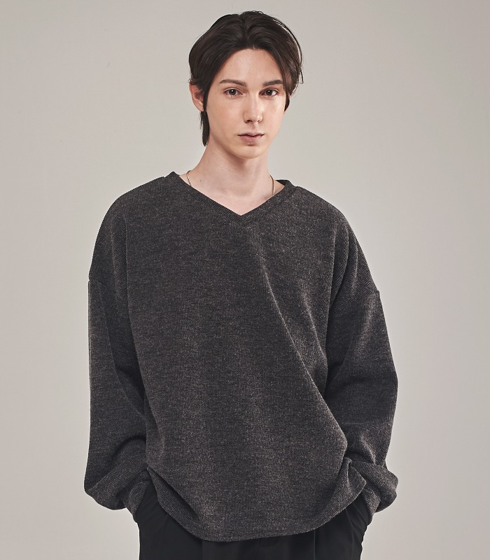 CHARCOAL Oversized Knit Sweatshirts [New Arrivals 15%]
