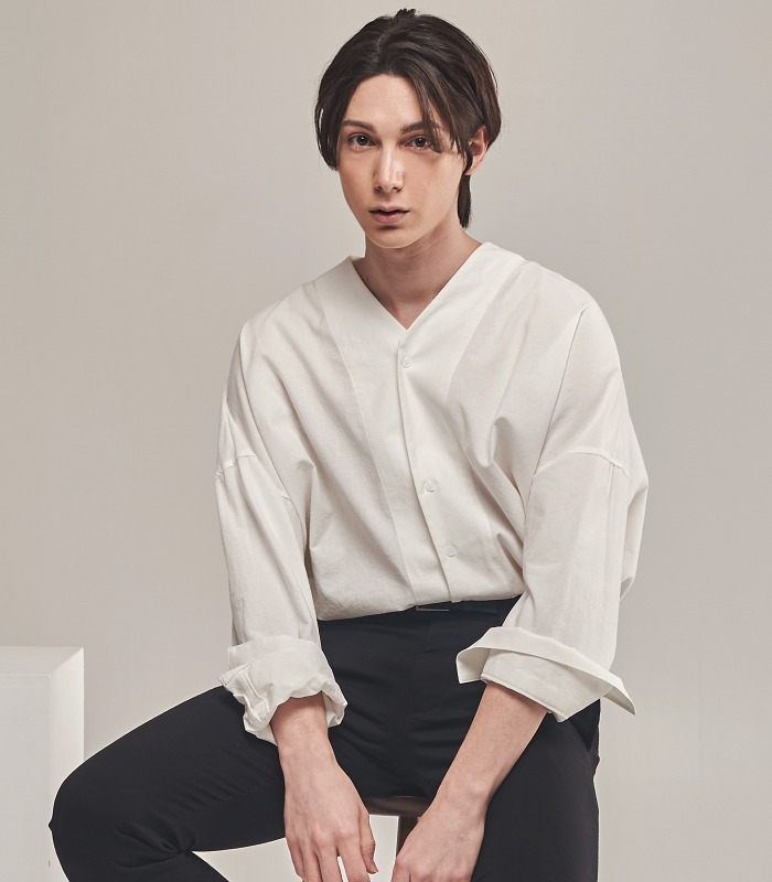 WHITE Oversized Noncollar Shirts [New Arrivals 15%]